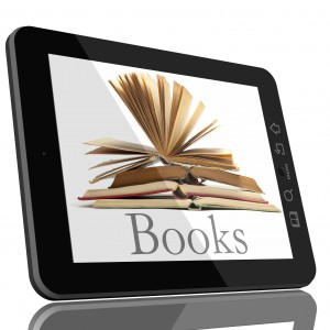 Tablet PC Computer and book - Digital Library Concept